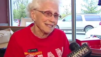 WITH 94-YEAR-OLD AND 44 YEARS WORKING AT MCDONALD'S THE LADY LOVES HER JOB