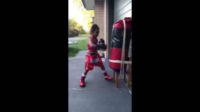 4 year old boxing prodigy freestyles on heavy bag
