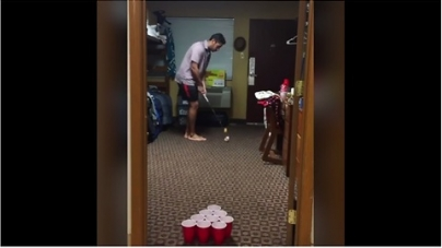 Compilation of ping pong trick shots with a golf club